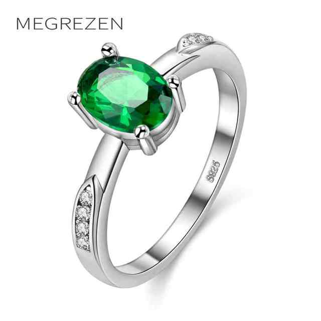 Megrezen Simple Silver Ring With Green Stone Costume Jewelry Vintage