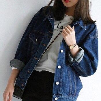 цена на 2019 Women Plus Size XXL Long Basical Jeans Jacket Women Coat Bleach Full Sleeves Single Breast Slim Women Denim Jacket Clothes