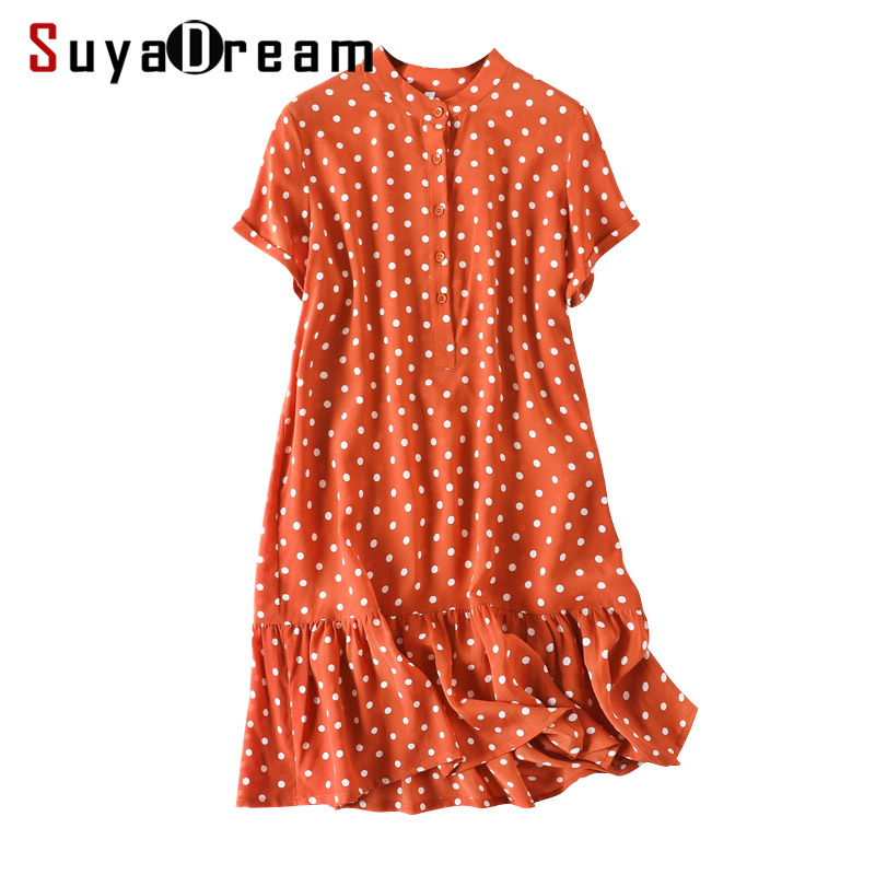 Women Mini Dress 100 Real Silk Dots Printed Dresses for Women Short Sleeved Holiday Dress 2019