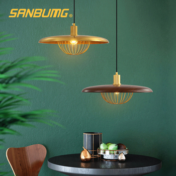 SANBUMG Nordic Morden Creative UFO Pendant Lights Walnut Wood Wrought Iron E27 Base Hanging Lights For Study Bar Cafe Lighting