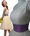 2017 verano nuevo corto rebordear perlas de un hombro de bola del vestido de dress azul de cintura champagne cocktail dress