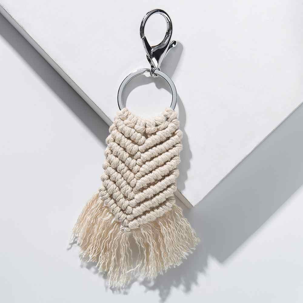 Artilady macrame chaveiro bohemia borla chaveiro artesanal saco charme carro pendurado jóias presente para amigos feminino transporte da gota
