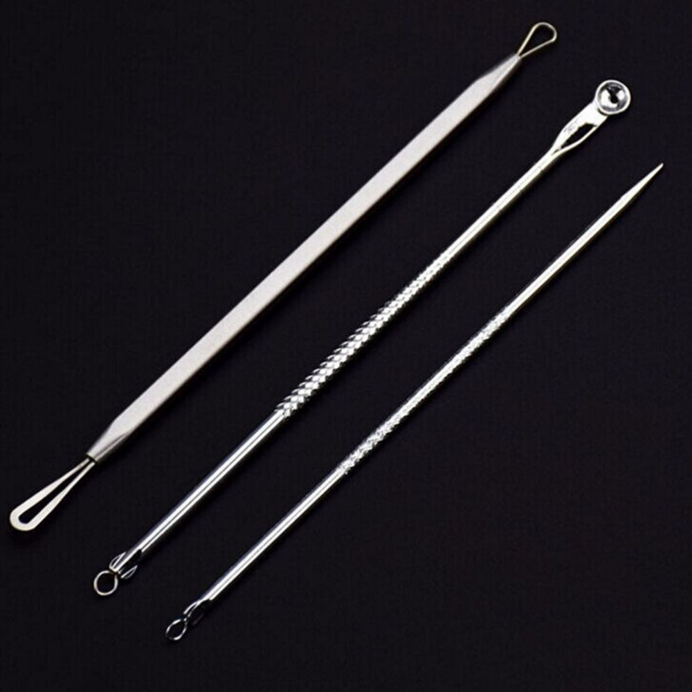 3Pcs/set New Comedone Extractor Stainless Needles Antibacterial Acne Cleansing Cleaning Removal Ear Care Tools Ear Syringe