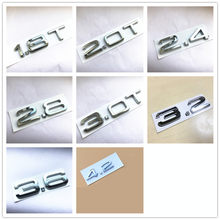 Chrome ABS Traseiro Trunk Emblem Número Letters Emblema Etiqueta Do Logotipo Para Audi 2.4 2.8 4.2 2.0 3.0 3.2 3.6 1.8T 2.0T 3.0T emblemas