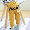 2017 Pantalones de Los Niños Del Otoño Del Resorte Nuevas de la Llegada Muchachas de Los Bebés Casual Pantalón HOLA Bordada Medio Pequeños Niños Pantalones Largos