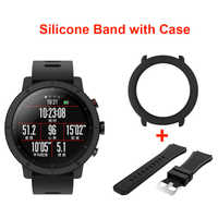 SIKAI 22mm Soft Silicone Watch Band With Protective Case for Huami Amazfit Stratos 2 Bracelet +Case Smartwatch Band Sport Straps