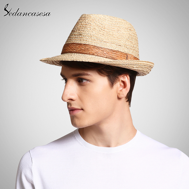 c6c576f68ffd5 Classic male fedora straw hat UV protection summer sun hats for man women handmade  raffia straw trilby cap beach holiday cool