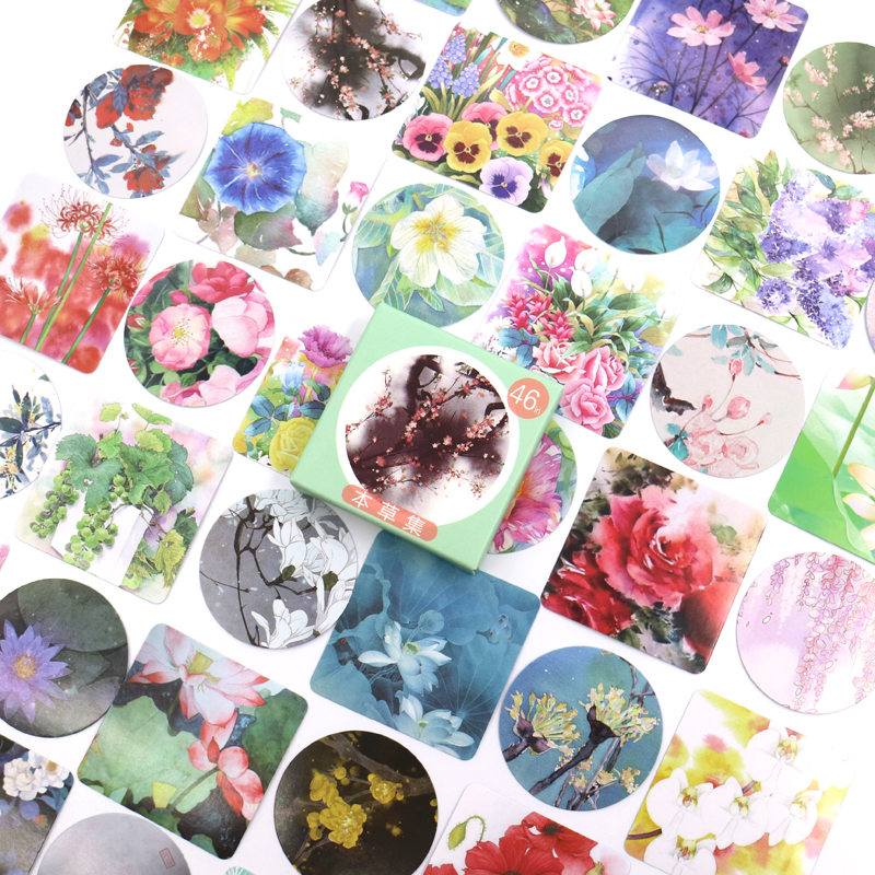 Flower Herbal Sticker Mobile Phone Album Scrapbooking Stickers DIY Hand Account Decorative Stickers Stationery Gifts 46PCS/box