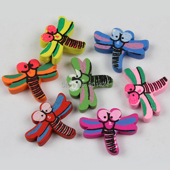 20pcs 32-84 mixed colour dragonfly wooden beads craft accessores for children jewelry fashion beads