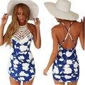 Venta caliente de La Mujer Vestidos de Verano azul backless atractivo Del Partido Del Club Vestido de noche de la señora Correa de Las Mujeres ocasionales de impresión Beach Dress VestidoJ2805