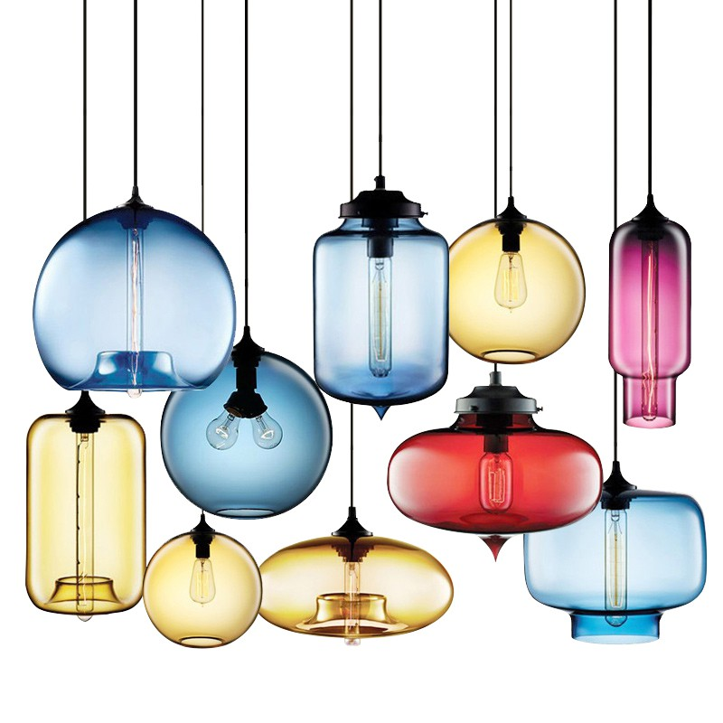 Europe LED pendant light Vintage colorful glass indoor lamp modern Hanging sitting dining room bar coffee shop lighting fixture northern europe glass cage pendant light loft vintage birdcage pendant lights lamp metal glass hanging lamps for coffee shop bar