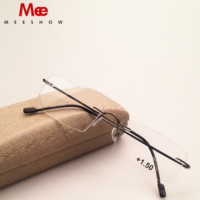 Meeshow Rimless Glasses Titanium alloy optical frame reading glasses with case Eyeglasses women stainless steel glasses Myopia