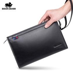 BISON DENIM luksusowy portfel męski zamek zamknięty długa torba sprzęgła biznes kopertówka ze skóry naturalnej torebka ze skóry bydlęcej dla mężczyzn N8249