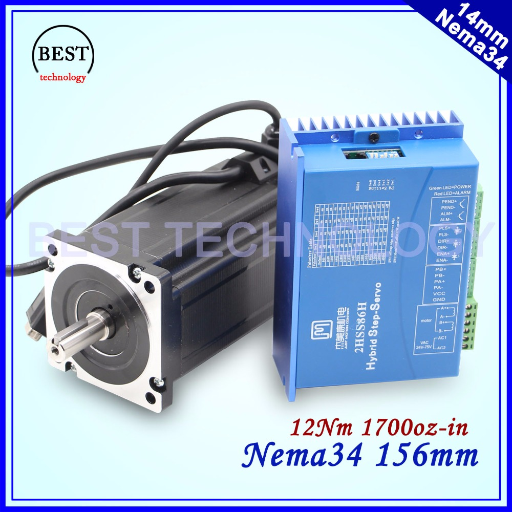 CNC NEMA 34 Closed Loop motor 12NM 6A 2-phase Hybrid nema 34 motor driver DC(40-110V) / AC(60-80V) 2 phase 8 5n m closed loop stepper servo motor driver kit 86j18118ec 1000 2hss86h cnc machine motor driver