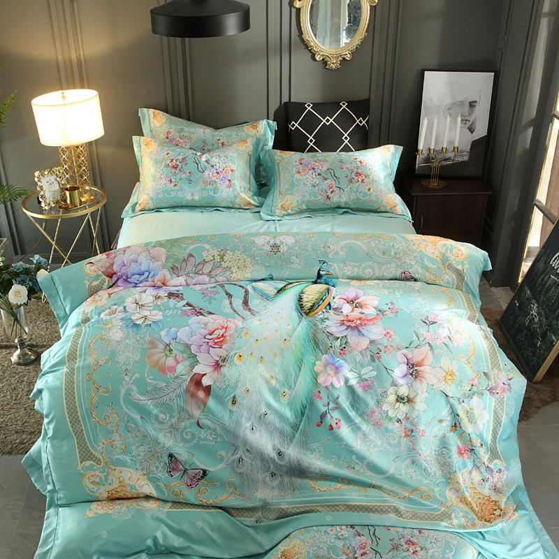 Queen King size 3D Bedding Set Luxury Bed set Silk Satin Cotton Duvet cover Fitted sheet