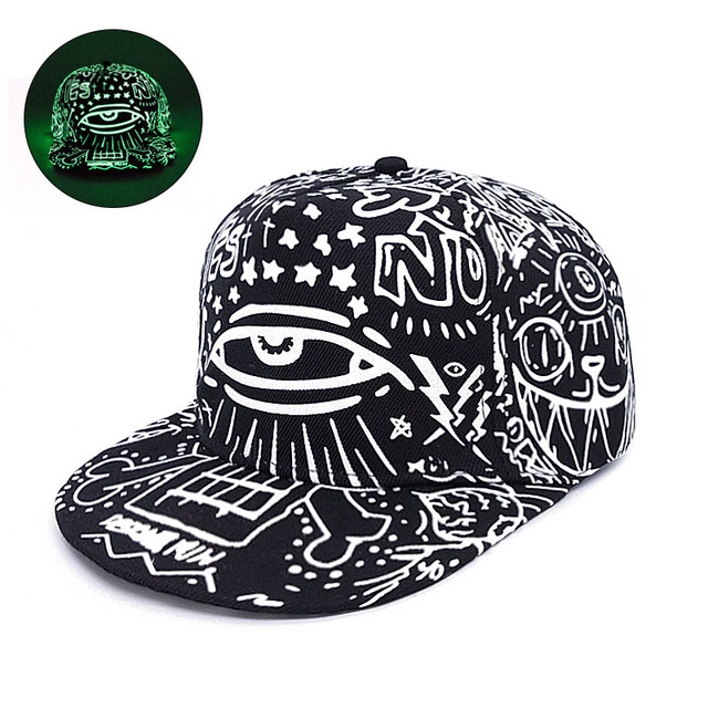 Fashion Graffiti Baseball Cap Hip Hop Snapback Caps Fluorescent Light For  Men Women Girl Noctilucence Caps 1e87b03d058