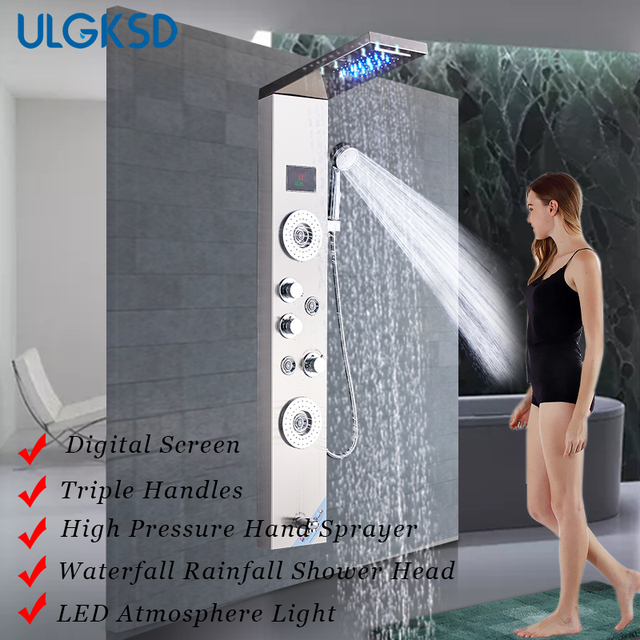ULGKSD Bath Shower Panel Temperature Display Waterfall Rain Shower Set W/ Sprayer Nozzle Tub Faucets Mixer Tap