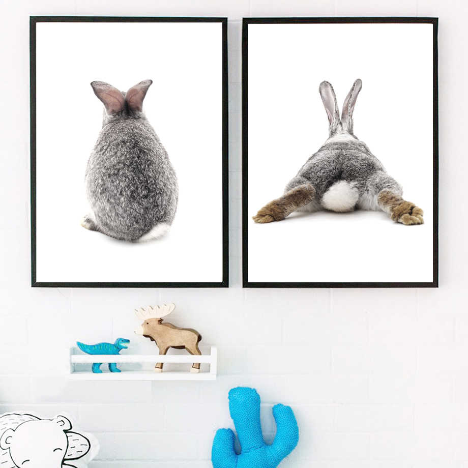 Gray Rabbit Nordic Poster Wall Art Canvas Painting Posters And Prints Bunny Nursery Art Prints Wall Pictures For Kids Room Decor