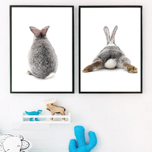 Gray Rabbit Nordic Poster Wall Art Canvas Painting Posters And Prints Bunny Nursery Art Prints Wall Pictures For Kids Room Decor цена и фото