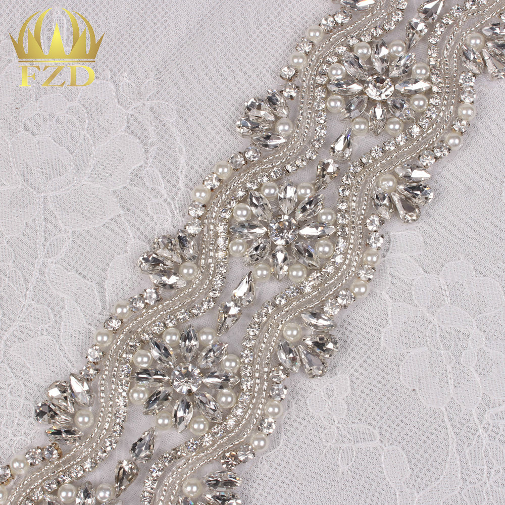 (10yards) Wholesale 1 Yard Sewing On Beaded Hot Fix Bling Decorative Rhinestone Trim for Wedding Dress Bridal Garters Sash
