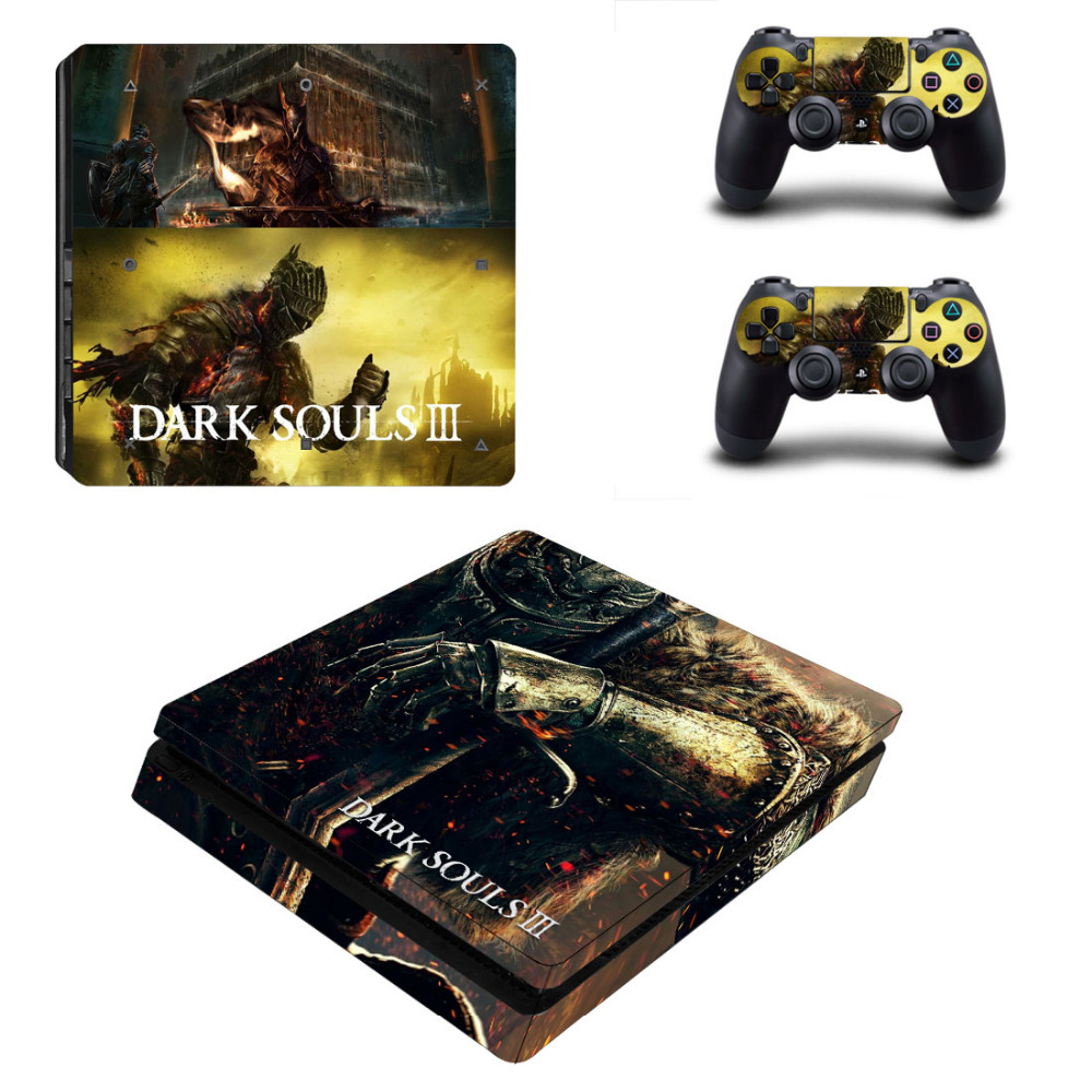 Game Dark Souls PS4 Slim Skin Sticker Decal for PlayStation 4 Console and 2 Controllers PS4 Slim Skins Stickers Vinyl