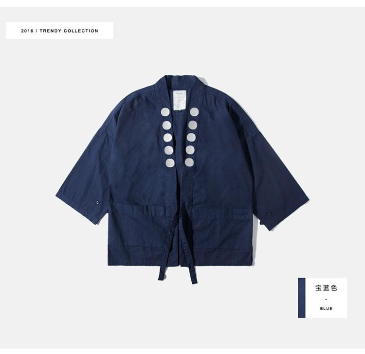 Kimono jacket mens japanese clothing fashion design harajuku street wear casual japan style outwear kanye west kimonos jackets (10)