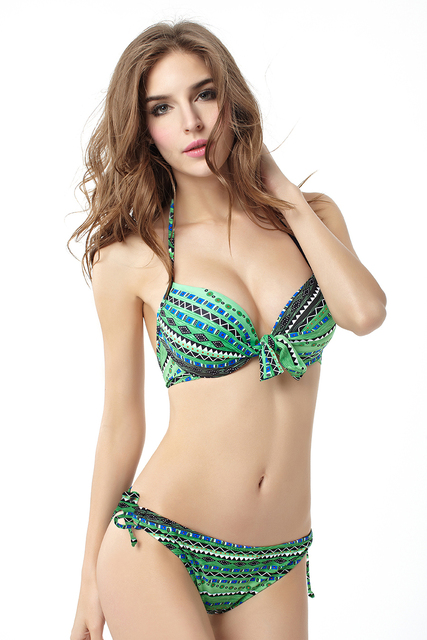 049d95a9f4e7e New Hot Green Bohemina Folk Retro Vintage Sexy Women s Bikini Set BeachWear Push  Up Padded Bra Swimwear Swimsuit -S-XXL