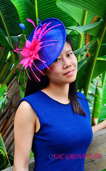 Royal blue fuchsia hot pink Sinamay fascinator hat with feather flower for  kentucky derby and wedding.-in Women s Hair Accessories from Apparel  Accessories ... 90c8e1b39b0