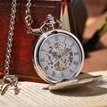 2016 новинка аналоговые мужчины часы механические карманные часы с ожерелье цепь стимпанк рука ветер карманные часы