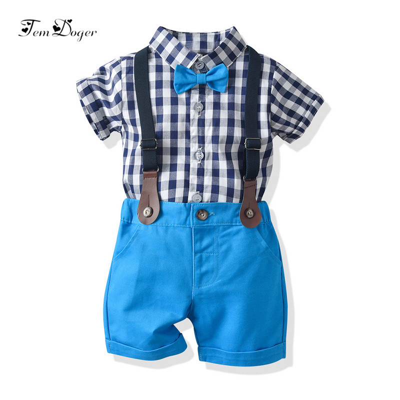 a935fcbb5 Tem Doger Baby Boy Clothing Sets Summer Infant Newborn Baby Boys Clothes  Plaid Tie Tops+Overall 2PCS Outfits Bebes Clothing ~ Hot Deal June 2019