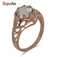 Unique Luxurious Custom Ms Royal Wedding Fine Carving 14 K Rose Gold Natural Topaz Stone Rings