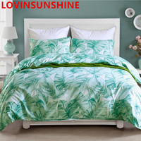 LOVINSUNSHINE green leaves plants print bedding sets 60S bed linen satin duvet cover set with piping pillow covers King Size