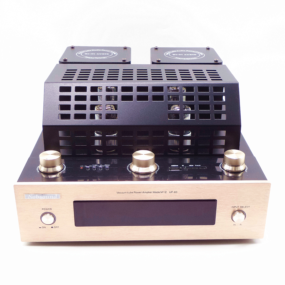 6J8P Vacuum tube amplifiers with Bluetooth SD USB lossless music player HIFI Stereo AMP audio speaker amplifier Nobsound BT-M12 2016 brand new appj pa1601a 6j1 6p4 hifi wifi vacuum tube amplifier desktop digital audio tube amp hi fi lossless music player