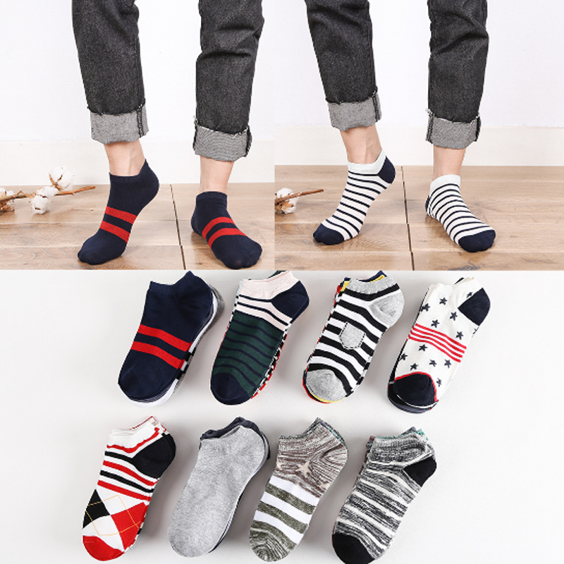 5Pairs Spring Summer Men Cotton Ankle Socks for Business Casual Solid Color Short Socks Stripe Male Sock Slippers