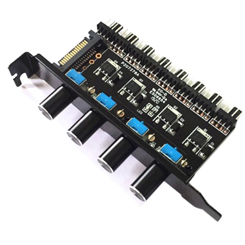 Hot Sale Pc 8 Channels Fan Hub 4 Knob Cooling Fan Speed Controller For Cpu Case Hdd Vga Pwm Fan Pci Bracket Power By 12V Fan C