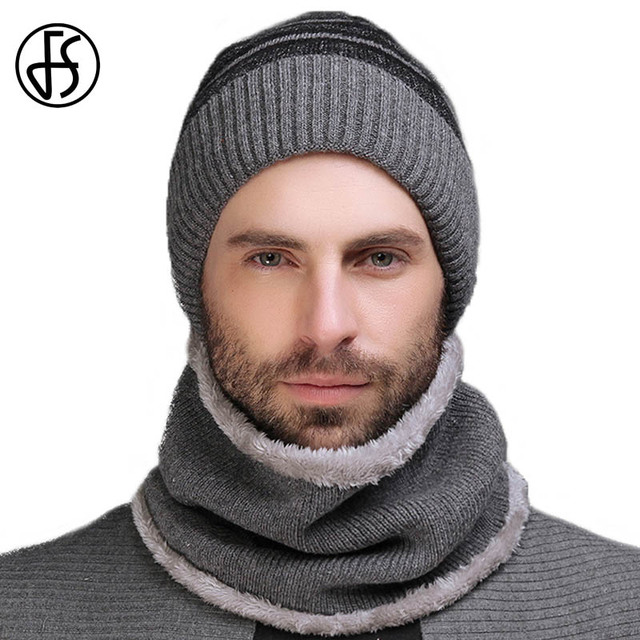ff1fcb33a US $24.99 |FS Men Winter Hat Scarf Set Skullies Beanies Wool Collar Sets  Warm Knitted Caps Male Balaclava Cap Beanie Casual Knit Bonnet-in Skullies  & ...
