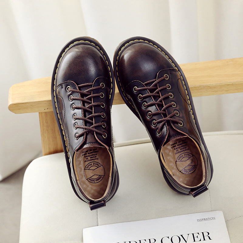 Chic Oxford Shoes for Women Genuine Leather Women Shoes Retro Lace up Oxfords INS Style Patent