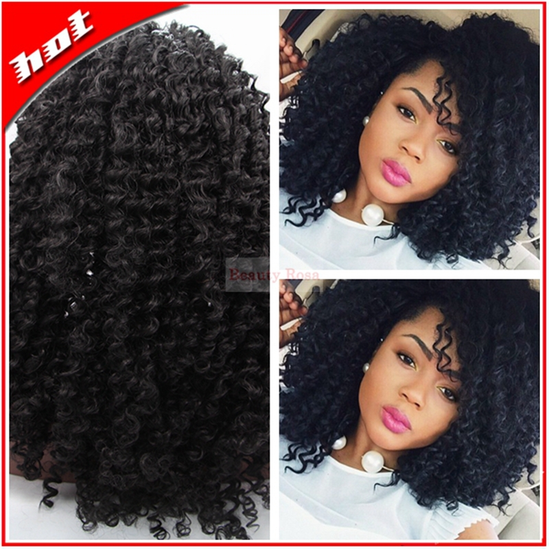 ФОТО Top Quality Heat Resistant long Black  Afro Kinky Curly Wigs Synthetic Kinky Curly Swiss Lace front Wigs for Black Women
