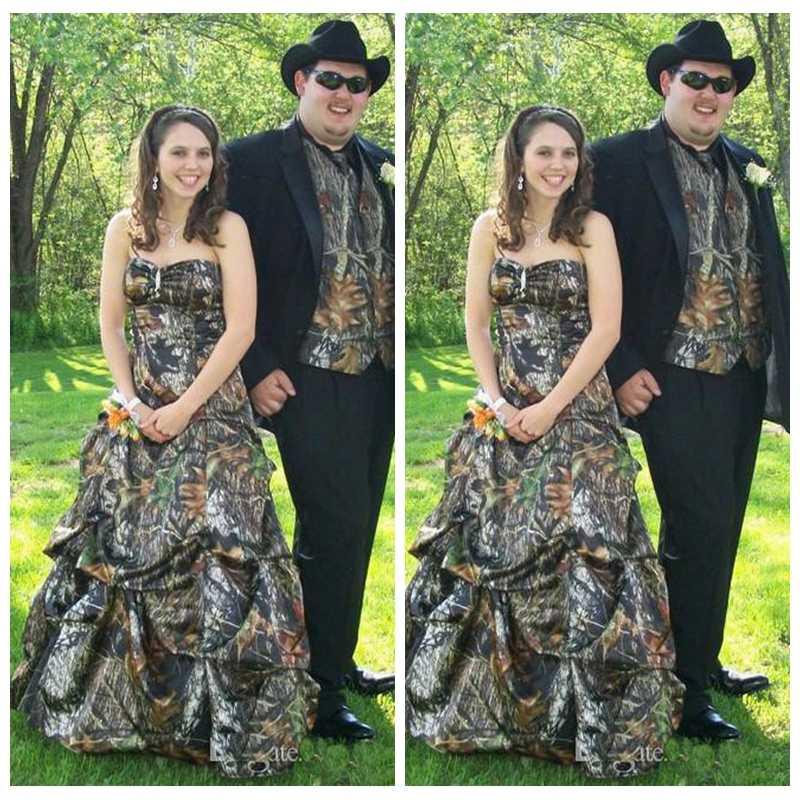 Custom Plus Size Hunting A Line Camo Wedding Dress Draped