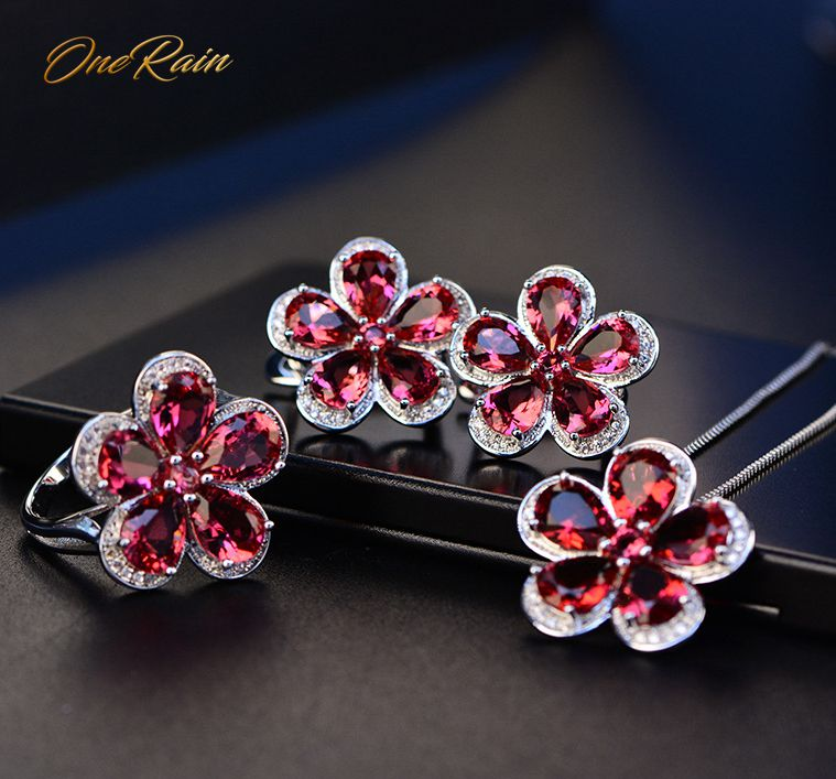 OneRain Vintage 100% 925 Sterling Silver Set Ruby Gemstone Jewelry Sets Flower Necklace/Earrings/Ring Party Cocktail Wholesale