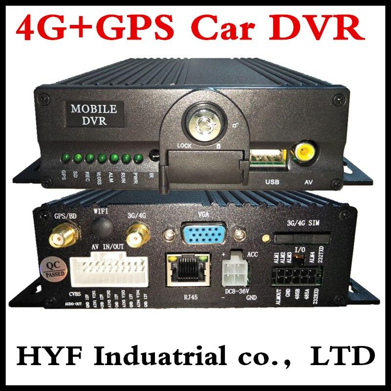 Voiture dvr double carte SD enregistreur vidéo GPS Mobile dvr localisation à distance suivi 4G MDVR véhicule réseau hôte 4CH bus moniteur