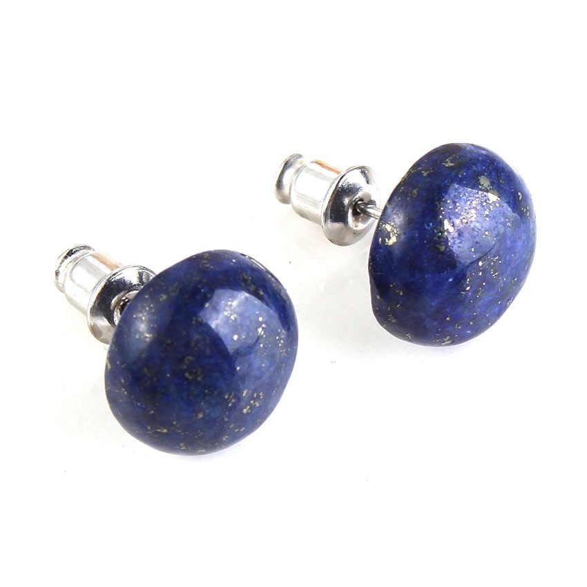 100-ที่ไม่ซ้ำกัน 1 คู่เงิน Lapis Lazuli ครึ่งวงกลมรูปร่างลูกปัดหินต่างหู Elegant ผู้หญิงต่างหู