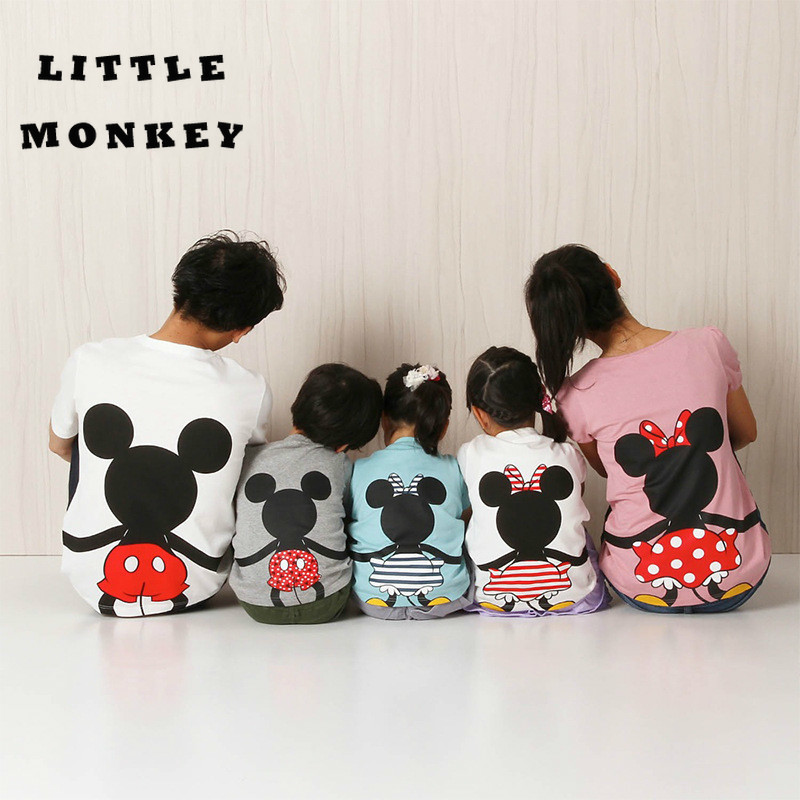 Household Matching Garments 2019New Minnie's Household Dad or mum-Little one Households Cartoon Mouse T-Shirt Mouse Duck Ladies Garments