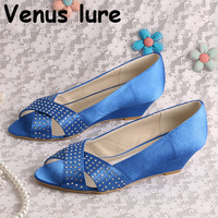 Size 11 Wedding Shoes for Women Blue Satin Wedge Heel Bridesmaid Shoes Open Toe