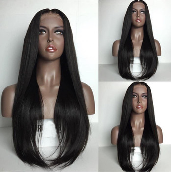 Fabwigs Silky Straight Lace Front Human Hair Wigs with Baby Hair Brazilian Remy Human Hair Wigs For Women Natural Black 2