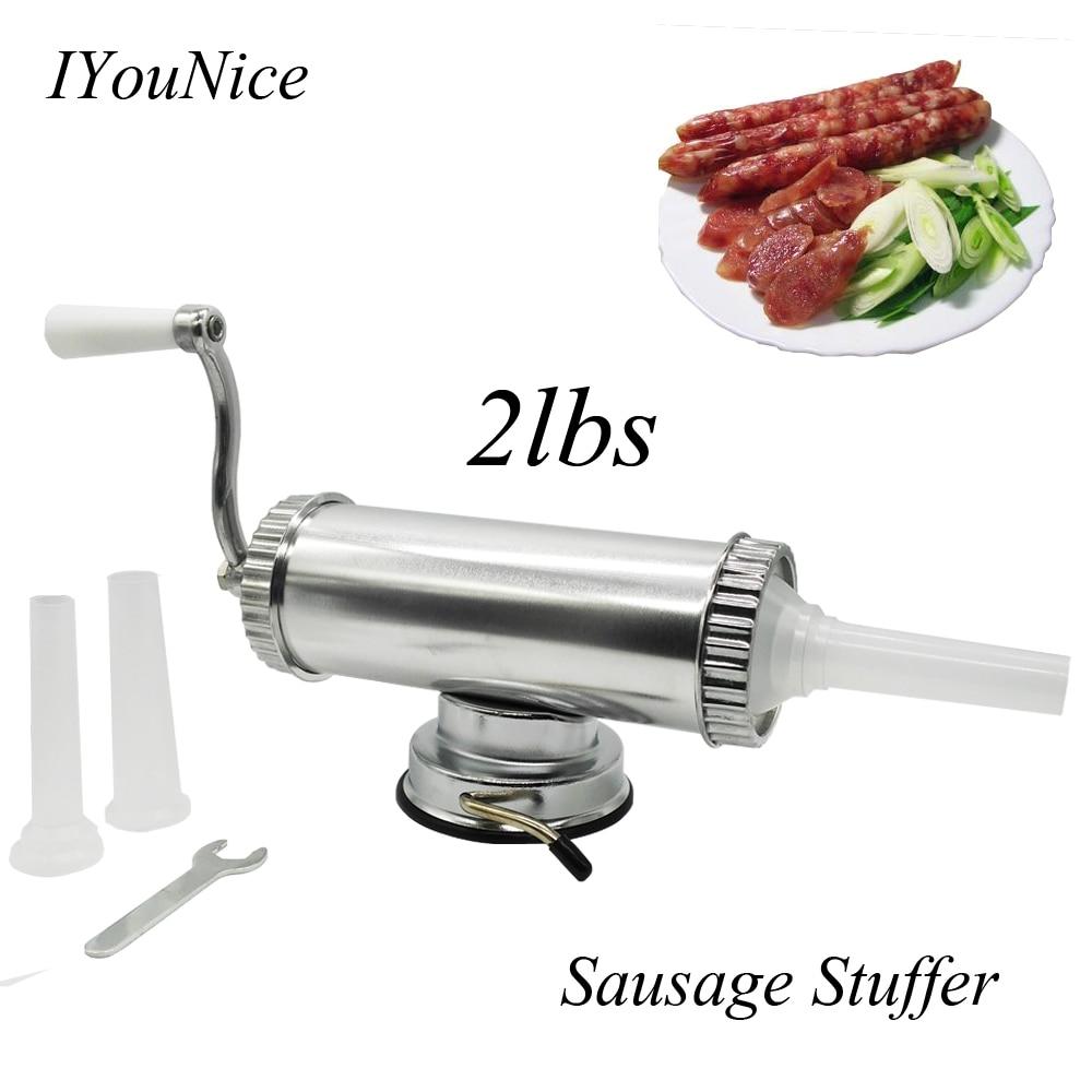 2lbs Horizontal Manuel Type Viande Saucisse Stuffer faisant la Machine De Remplissage de Saucisses Salami Maker Fix Aspiration De Remplissage Entonnoirs 2lbs