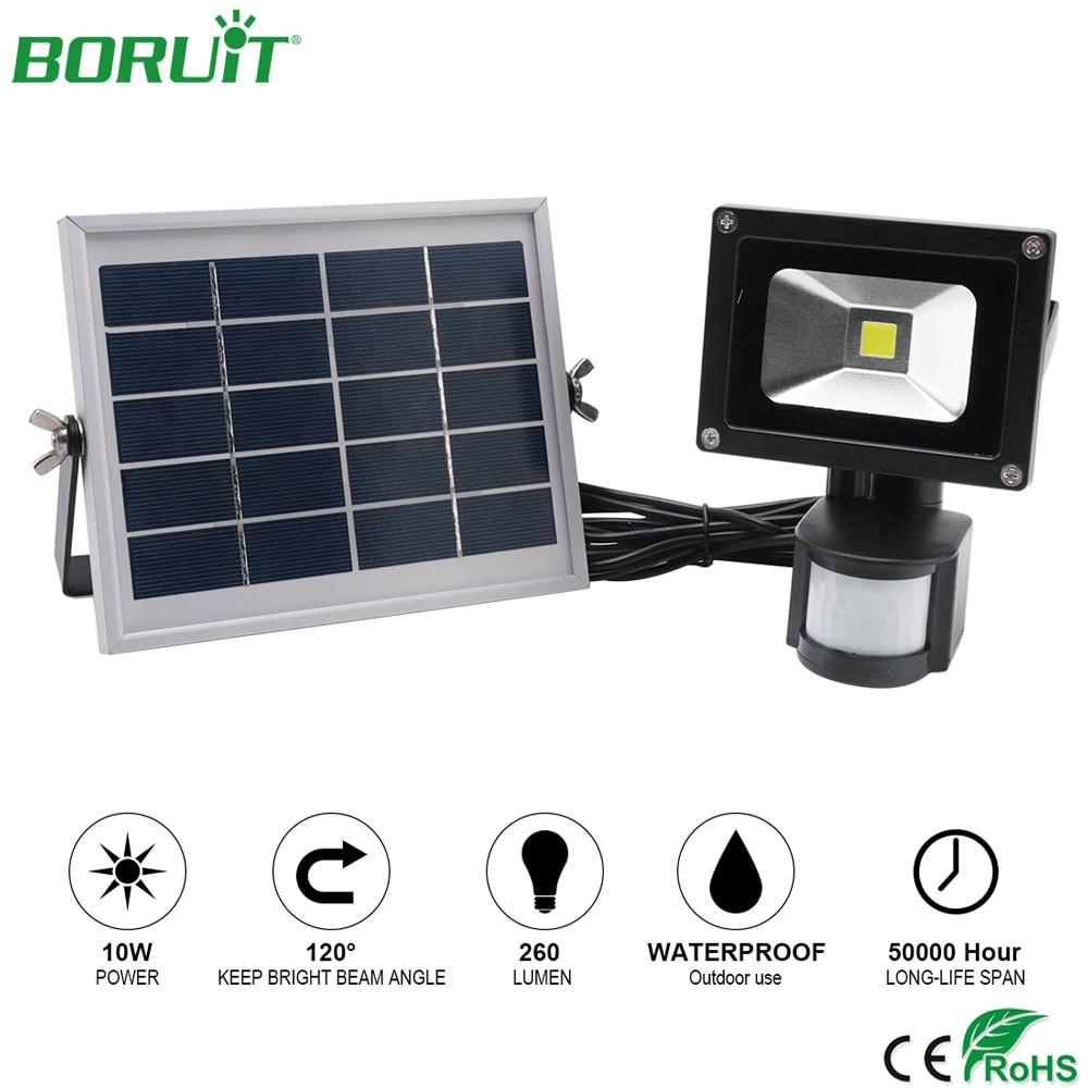 BORUiT светодио дный 10 Вт светодиодная Солнечная лампа PIR датчик движения солнечной энергии прожектор водостойкий открытый садовый светодио д...
