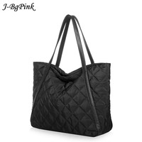 Women Bags Tote Bag Space Cotton Down Feather Padded Shoulder Bags Large Capacity Nylon Winter Lattice Warm Bag