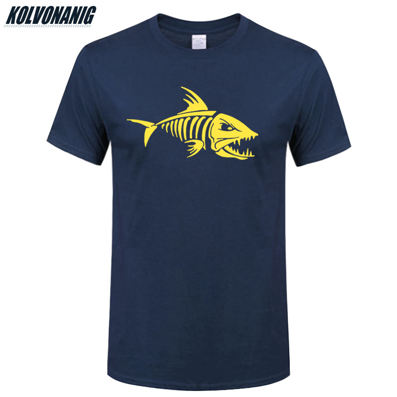KOLVONANIG Men's Clothing Brand 2019 Fisherman Tshirts Skull Fish-Bones Print T Shirt Men Cotton O-Neck Fishinger Gift Top Tees