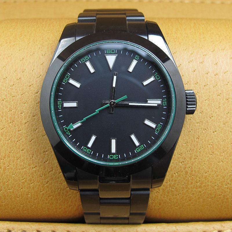 40 MM negro estéril Dial PVD caja de zafiro cristal verde Flash segunda mano marcas luminosas movimiento automático reloj para hombre b2A-in Relojes mecánicos from Relojes de pulsera    1
